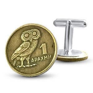 Other - Authentic Greek Drachma Cuff Links. Brass Coins.